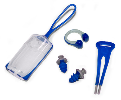 Nose clip + ear plugs blue