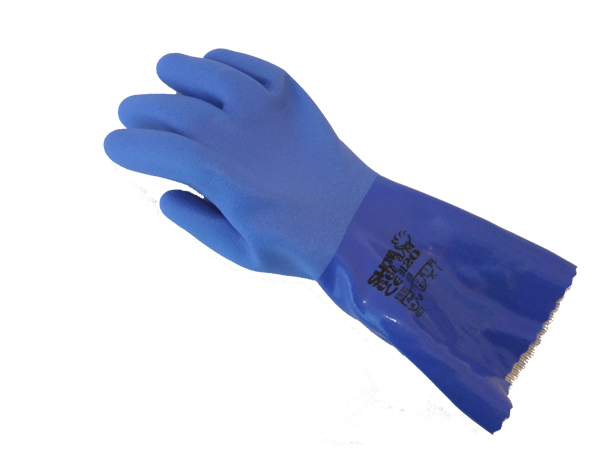 Gloves 5-finger PVC, blue