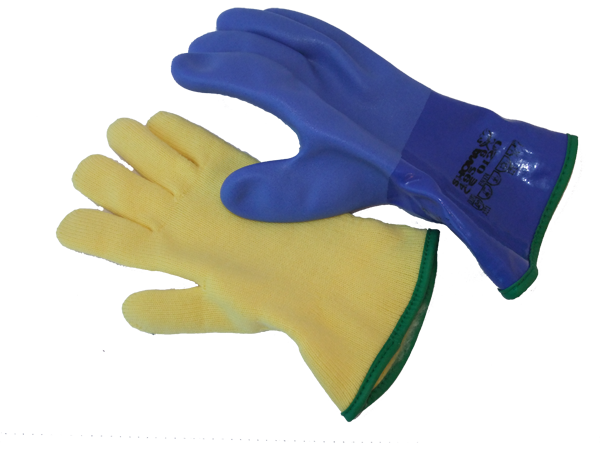 Gloves 5-finger PVC blue, incl. liner gloves